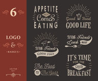 Set of Vintage Food Typographic Quotes Royalty Free Stock Photography