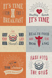 Set of Vintage Food Typographic Quotes Royalty Free Stock Images