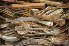 Set of vintage forks, spoons and knifes. Cutlery set of different vintage forks, spoons and knifes Stock Photos