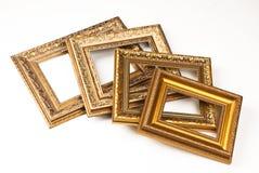 Set of vintage frame, isolated on white background. Set of vintage golden frame, isolated on white background Stock Image