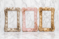 Set of  Vintage Frame. Set of vintage frame on white marble background Stock Photos