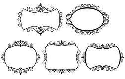 Set of vintage frames. Isolated on white Stock Photography