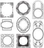 Set vintage frames. Set of eight vintage frame in black and white Stock Photo