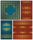 Set of vintage frames. Vintage background in bright colors royalty free illustration