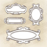 Set of vintage frames. Set of banners. Vintage frames. Hand drawn  illustration Royalty Free Stock Image