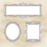 Set of vintage frames. Set of banners. Vintage frames. Hand drawn vector illustration Stock Image