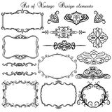 Set of vintage frames and borders. Decorative background with floral design Royalty Free Stock Images