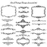 Set of vintage frames and borders. Decorative background with floral design Royalty Free Stock Image