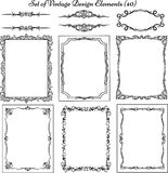 Set of vintage frames and borders Royalty Free Stock Photo