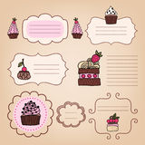Set of vintage frames with cakes Royalty Free Stock Photos