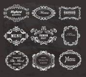 Set of vintage frames on the chalkboard. Stock Image