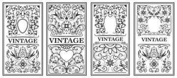 Set of vintage frames. Design elements for poster, emblem, sign, card. Vector illustration Stock Images