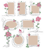 Set of vintage frames with flowers Stock Image