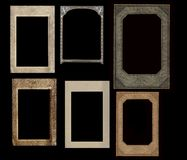 Set of vintage frames isolated on black Royalty Free Stock Images