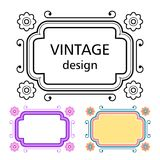 Set of vintage frames in a lineart style Stock Photo