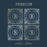 Set of Vintage Frames for Luxury Logos for cafe, shop, store, re Royalty Free Stock Image