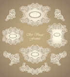 Set vintage frames in in pearly beige Royalty Free Stock Image