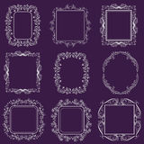 Set of vintage frames. On purple Stock Image