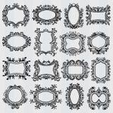 Set of vintage frames. Retro decorative borders. Set of vintage frames. Victorian and floral decorative borders, antique decoration with swirl. Retro ornament Stock Images