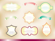 Set of vintage frames and ribbons. On old papper background Royalty Free Stock Photography