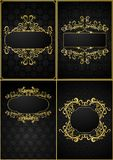 Set of vintage frames on a rich dark background. Royalty Free Stock Photos
