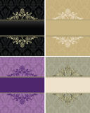 Set of vintage frames for seamless background Royalty Free Stock Photo