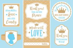 Set of  vintage frames. Templates gift tags for royal party wedding, baby shower, birthday. Candy wrappers, stickers, labels for little prince sweet table Stock Image