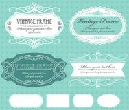 Set of vintage  frames on turquoise background Royalty Free Stock Image