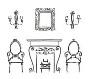Set of vintage furniture silhouettes. Stock Photo
