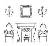 Set of vintage furniture silhouettes. Vector illustration Stock Photo