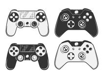 Set of vintage gamepad emblems, labels, badges, logos and design elements. Monochrome style Stock Images