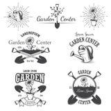 Set of vintage garden center emblems. Set of vintage garden center emblems, labels, badges, logos and designed elements. Monochrome style Stock Images