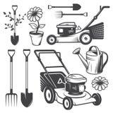 Set of vintage garden designed elements Stock Image