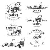 Set of vintage garden service emblems. Set of vintage garden service emblems, labels, badges, logos and designed elements. Monochrome style Royalty Free Stock Image
