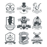 Set of vintage gentleman emblems, labels. Set of vintage gentleman emblems, labels, icons, signage and design elements. Engraving style Royalty Free Stock Photos