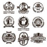 Set of vintage gentleman emblems, labels. Stock Photos