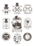 Set of vintage gentleman emblems, labels. Set of vector vintage gentleman emblems, labels, icons, signage and design elements. Engraving style Royalty Free Stock Images