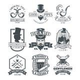 Set of vintage gentleman emblems, labels. Royalty Free Stock Photography