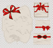 Set of vintage gift bows. Royalty Free Stock Photos