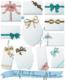 Set of vintage gift bows. Royalty Free Stock Photo