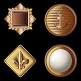 Set of vintage gold buttons - vector illustration Royalty Free Stock Photography