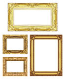 Set 4 of Vintage gold frame with blank space, clipping path Stock Photo