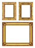 Set 3 of Vintage gold frame with blank space, clipping path Stock Image