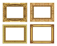 Set 4 of Vintage gold frame with blank space, clipping path. Royalty Free Stock Image