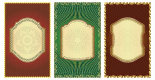 Set of vintage gold-framed labels. Stock Images