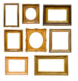 Set of vintage gold  frames Stock Photos