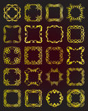 Set of vintage gold frames - design elements. Royalty Free Stock Images