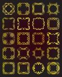 Set of vintage gold frames - design elements. Royalty Free Stock Images
