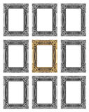 Set 9 of vintage gold - gray frame isolated on white background.  Stock Image