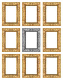 Set 9 of vintage gold - gray frame isolated on white background.  Royalty Free Stock Photography
